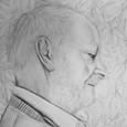 Großvater mit Blättern